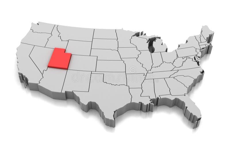 Mapa do estado de Utá, EUA ilustração stock