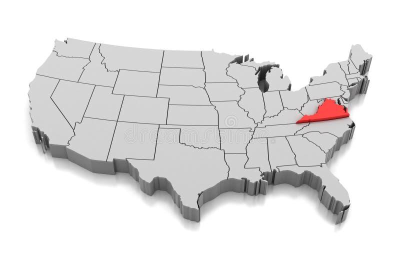 Mapa do estado de Virgínia, EUA ilustração royalty free