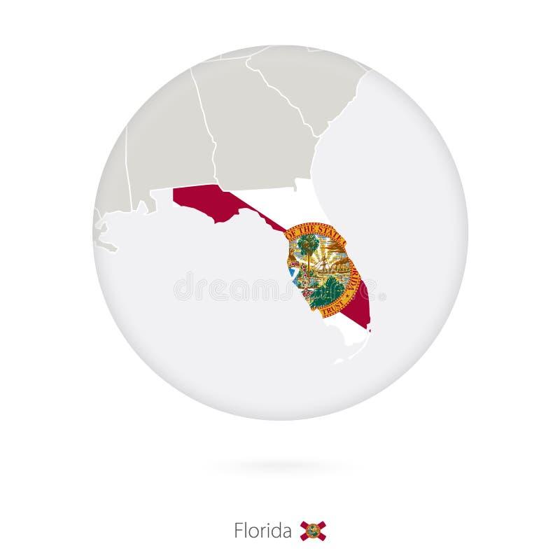 Mapa do estado e da bandeira de Florida em um círculo ilustração do vetor