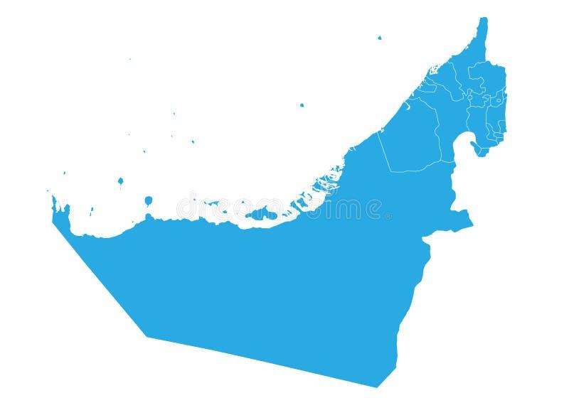 Mapa do estado unido de emirados árabes Mapa detalhado alto do vetor - estado unido de emirados árabes ilustração do vetor