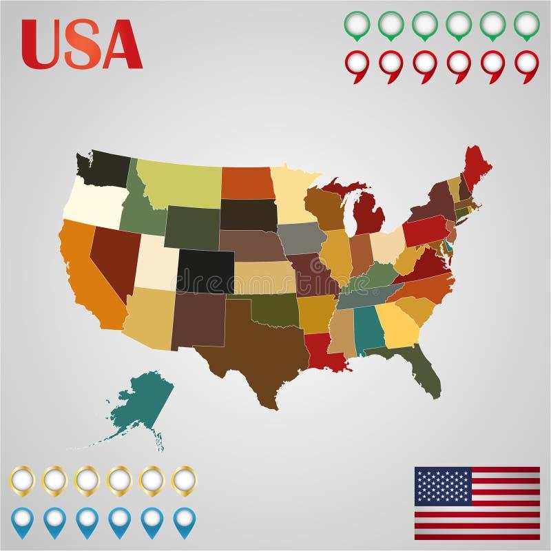 Mapa do Estados Unidos com estados, a bandeira e o geo separados ilustração do vetor