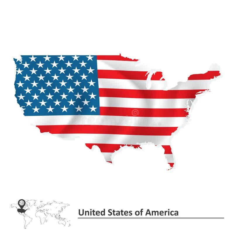 Mapa do Estados Unidos da América com bandeira ilustração do vetor