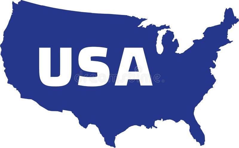 Mapa do Estados Unidos da América com nome ilustração stock