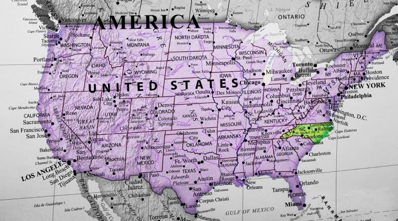 Mapa do Estados Unidos da América que destaca o estado de North Carolina ilustração do vetor
