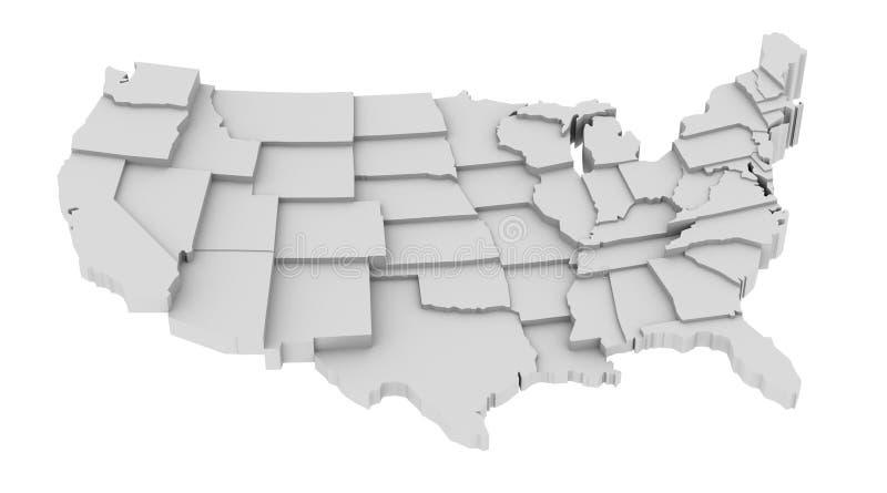 Mapa do Estados Unidos por estados em vários níveis elevados.