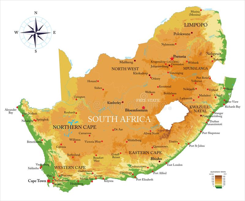 Mapa do exame de África do Sul ilustração stock