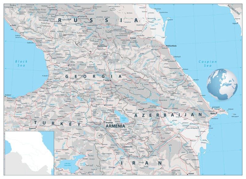 Mapa do exame de Cáucaso Não o tomarão ao veterinário ilustração do vetor
