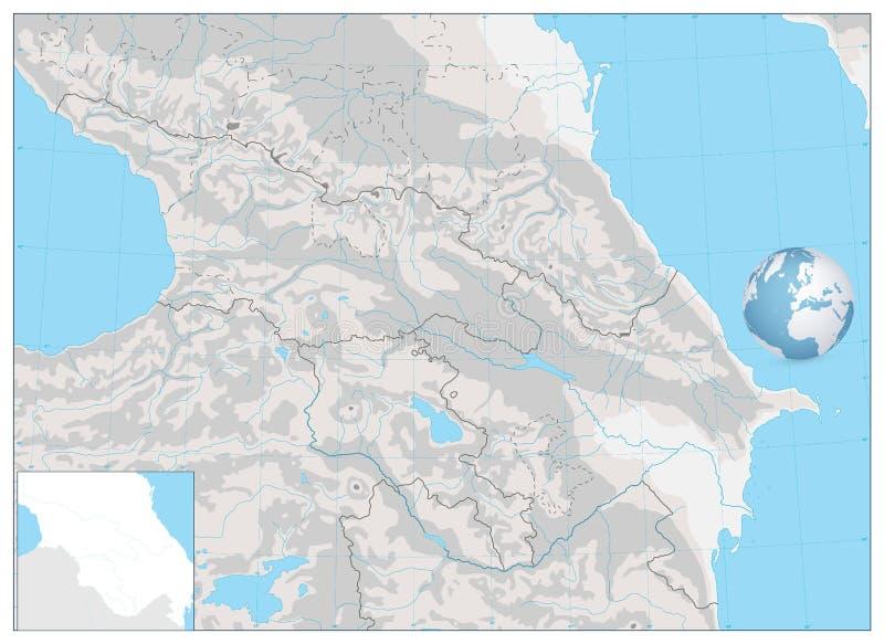 Mapa do exame de Cáucaso Não o tomarão ao veterinário NENHUM texto ilustração stock