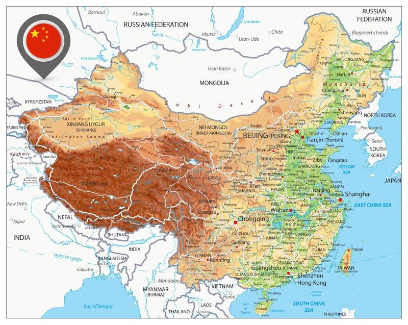 Mapa do exame de China ilustração do vetor