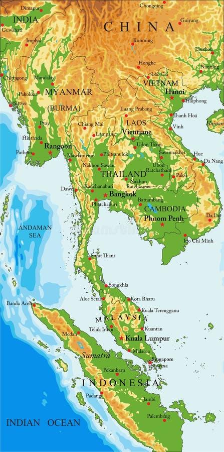 Mapa do exame de Indochina ilustração stock