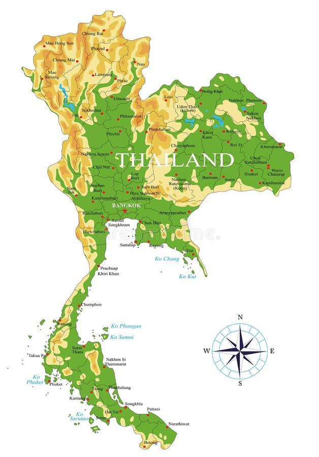 Mapa do exame de Tailândia ilustração royalty free