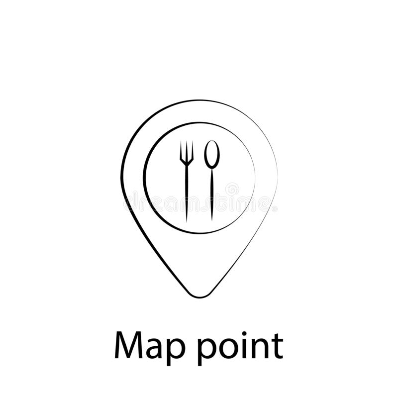 Mapa do fast food, ?cone do esbo?o do pino Elemento do ?cone da ilustra??o do alimento Os sinais e os s?mbolos podem ser usados p ilustração do vetor