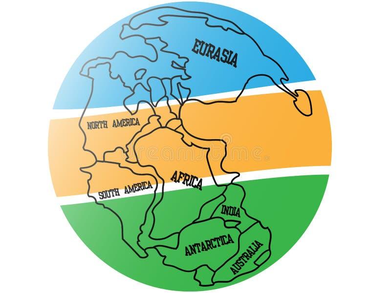 Mapa do fundo de Pangaea ilustração do vetor