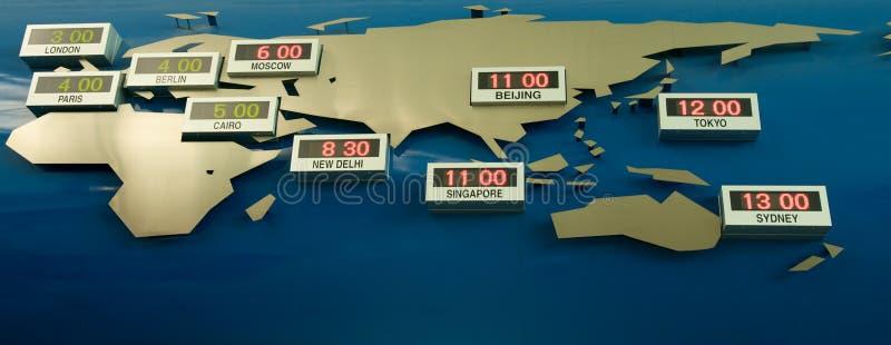 Mapa do fuso horário do mundo ilustração do vetor