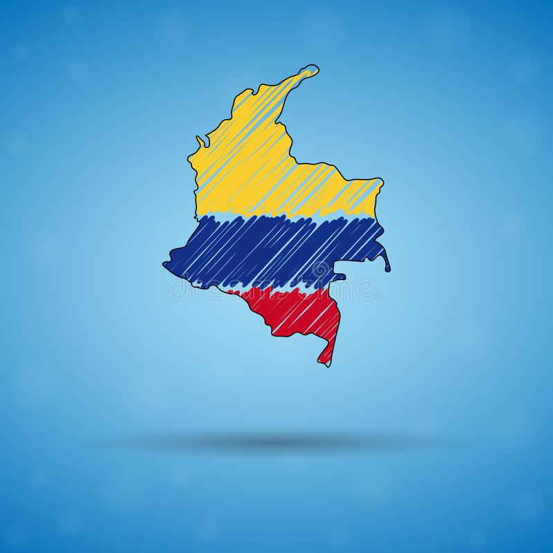 Mapa do garrancho de Colômbia Mapa do pa?s do esbo?o para infographic, folhetos e apresenta??es, mapa de esbo?o estilizado de ilustração stock