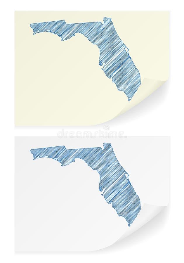 Mapa do garrancho de Florida ilustração stock