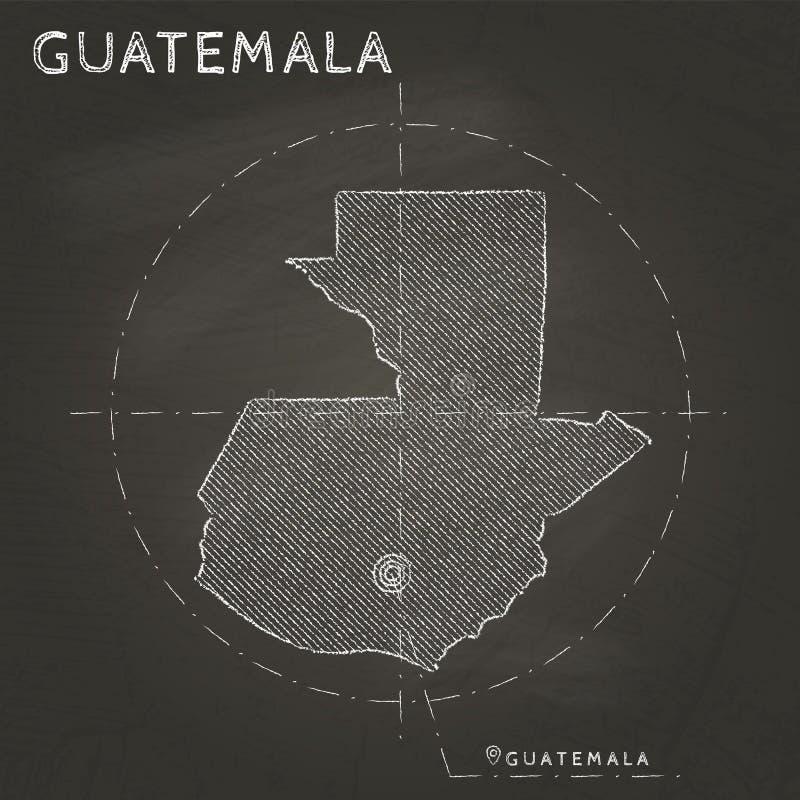 Mapa do giz da Guatemala com mão marcada do capital ilustração do vetor