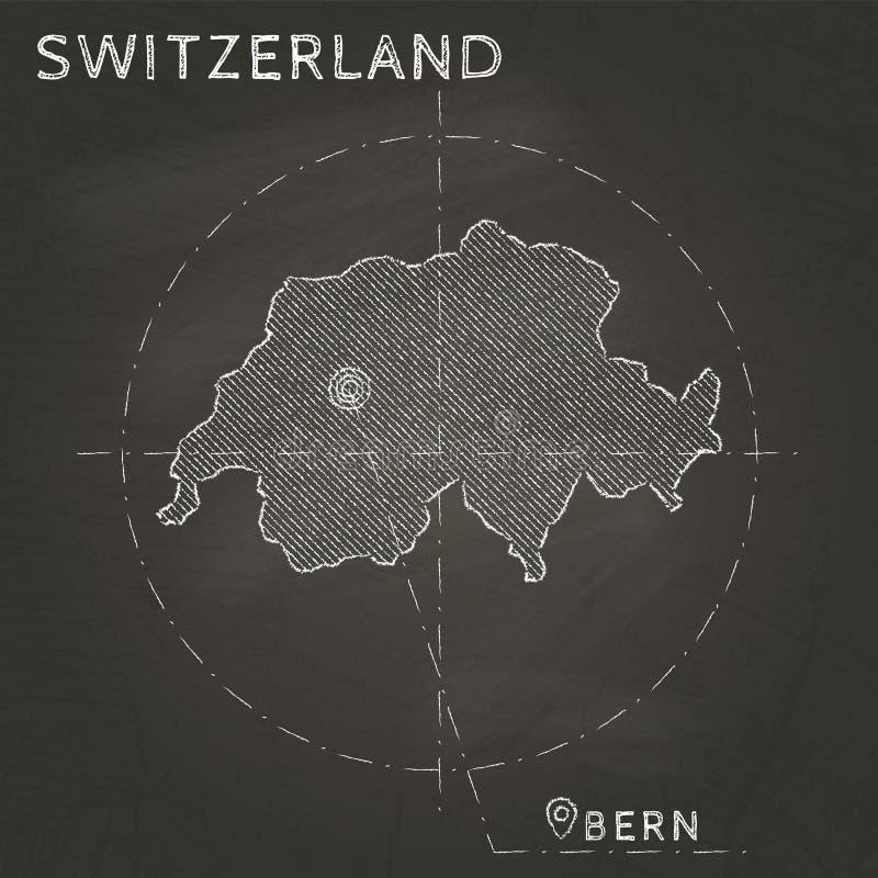 Mapa do giz de Suíça com mão marcada do capital ilustração royalty free