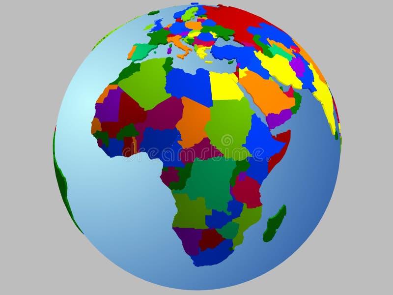 Mapa do globo de África ilustração royalty free