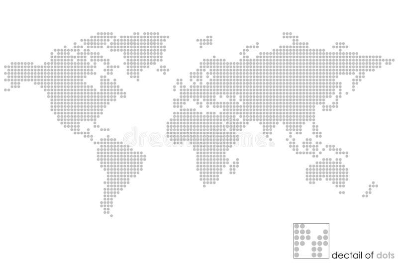 Mapa do globo do mundo: pontilhado - enigma ilustração do vetor