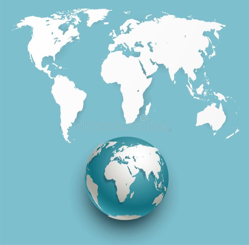 Mapa do globo e de mundo do vetor ilustração stock