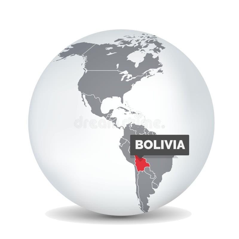 Mapa do globo do mundo com o identication de Brasil Mapa de Brasil ilustração do vetor