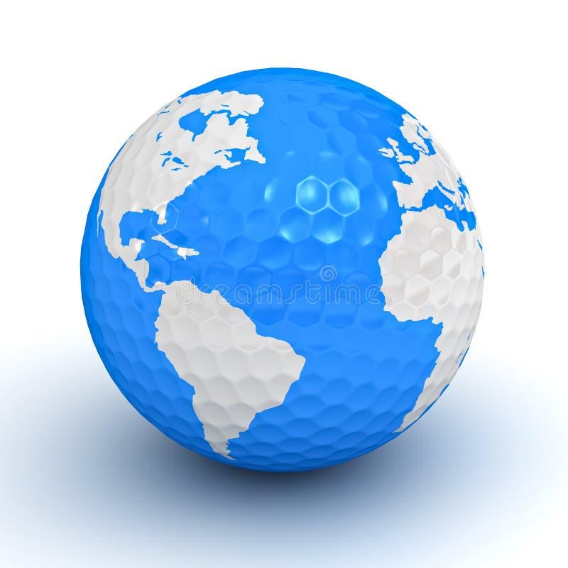 Mapa do globo na esfera de golfe ilustração stock