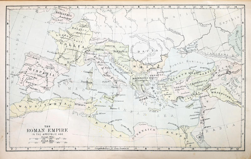 Mapa do império romano imagens de stock royalty free