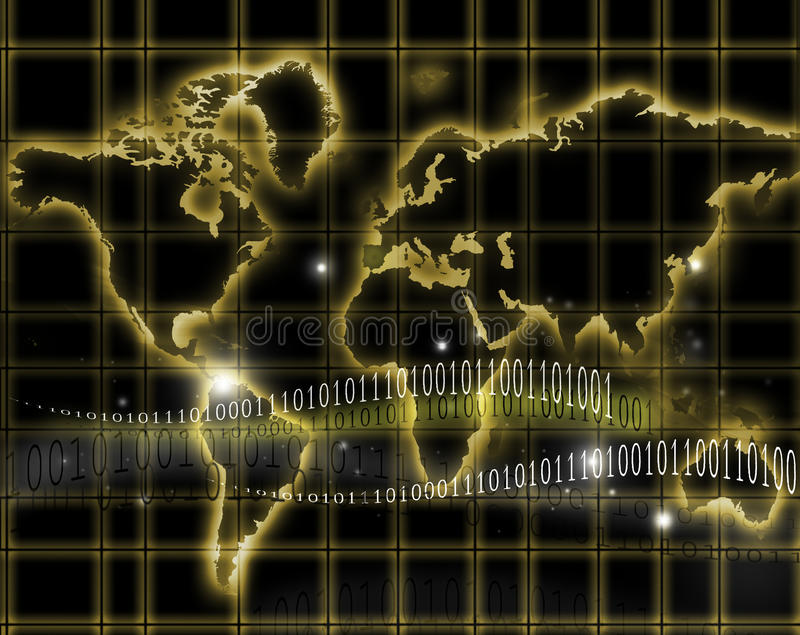 Mapa do Internet e de mundo ilustração stock
