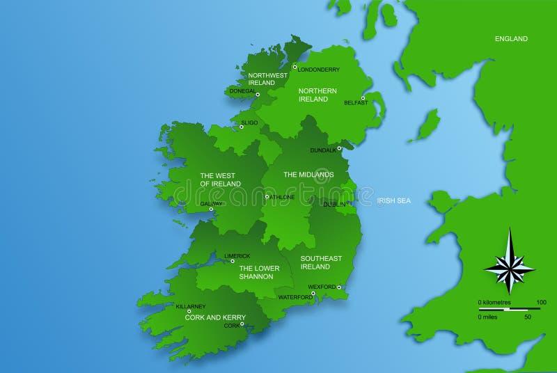 Mapa do Ireland inteiro com regiões ilustração stock