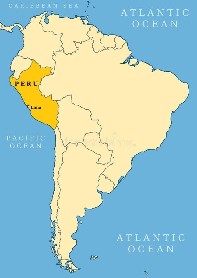 Mapa do localizador de Peru ilustração do vetor
