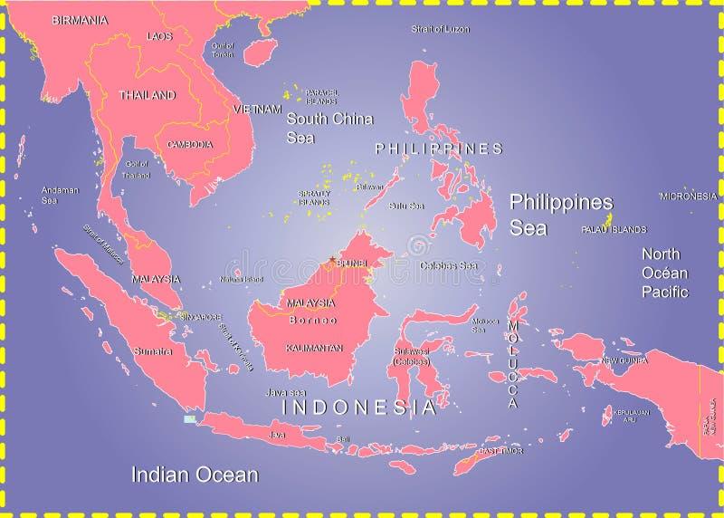 Mapa do mar de Filipinas, Indonésia. ilustração do vetor