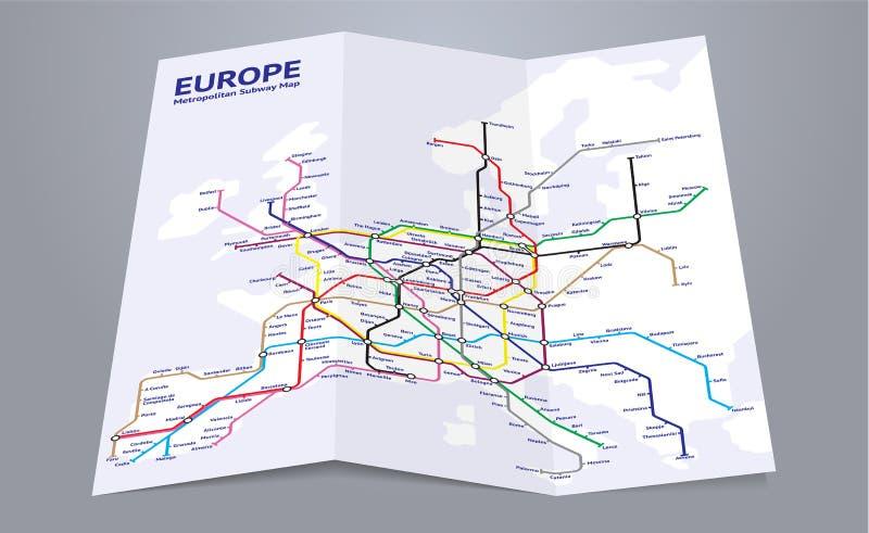 Mapa do metro de Europa ilustração royalty free