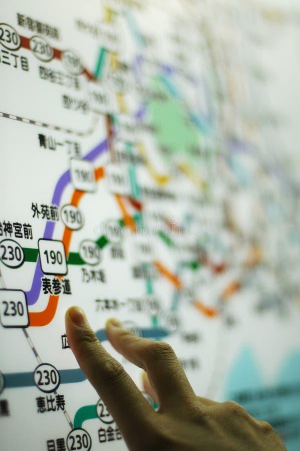 Mapa do metro de Tokyo fotos de stock