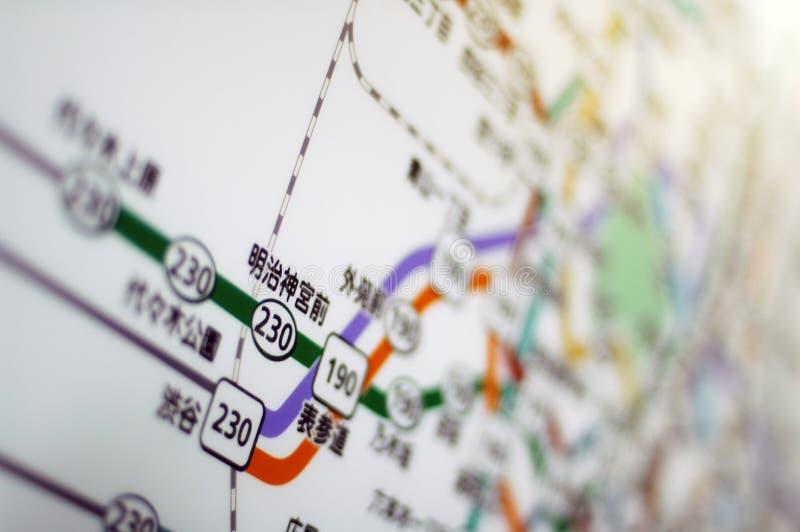 Mapa do metro de Tokyo foto de stock
