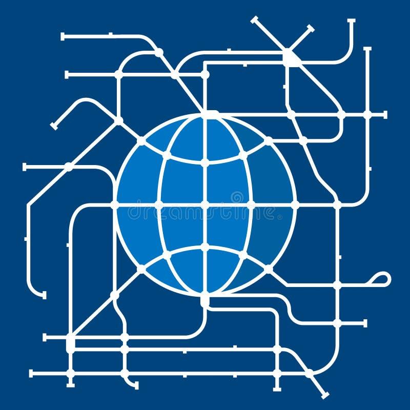 Mapa do metro do mundo ilustração stock