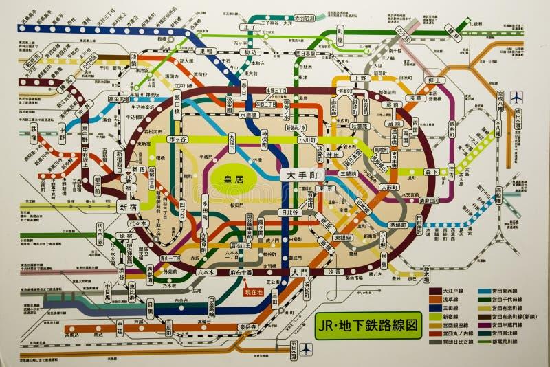 Mapa do metro do Tóquio fotos de stock royalty free