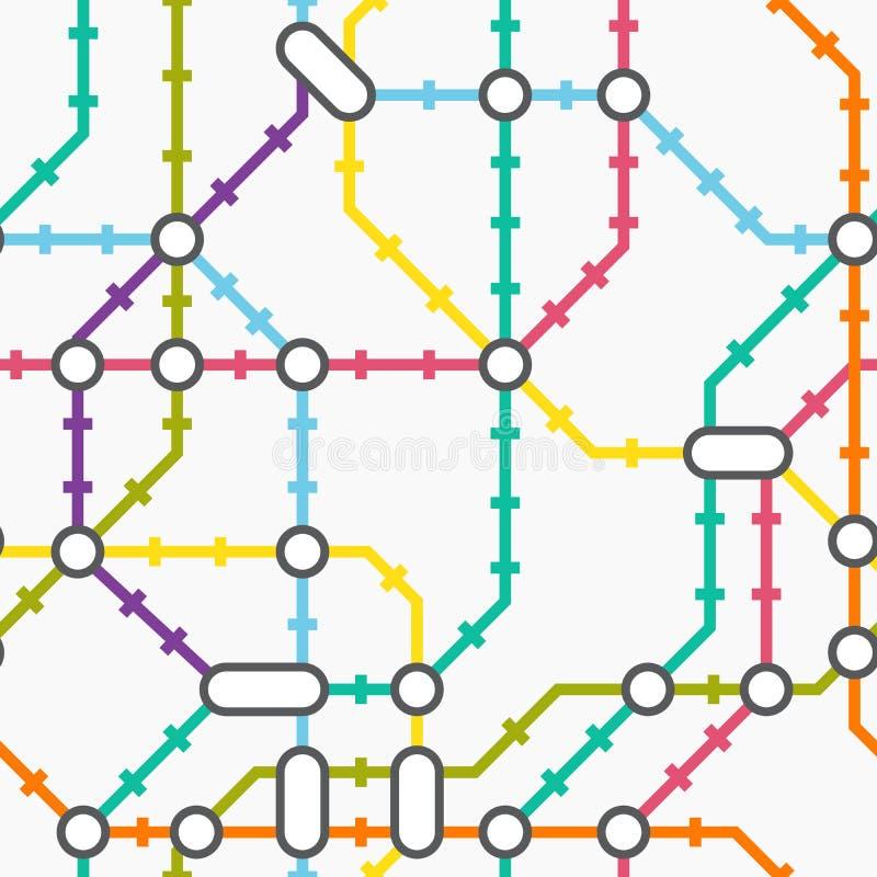 Mapa do metro Teste padrão sem emenda ilustração stock