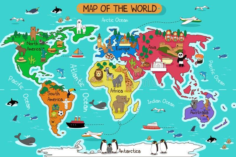 Mapa do mundo ilustração royalty free
