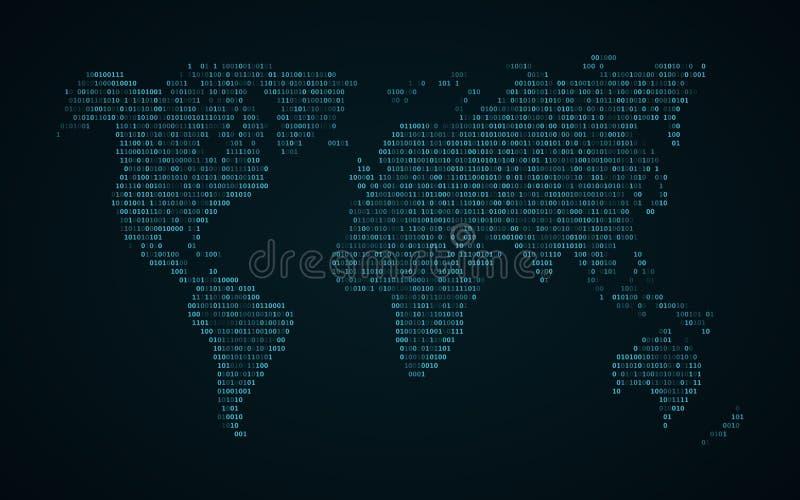 Mapa do mundo abstrato do código binário Mapa de incandescência da terra Escuro - fundo azul Luzes azuis Tecnologia da ficção cie ilustração stock