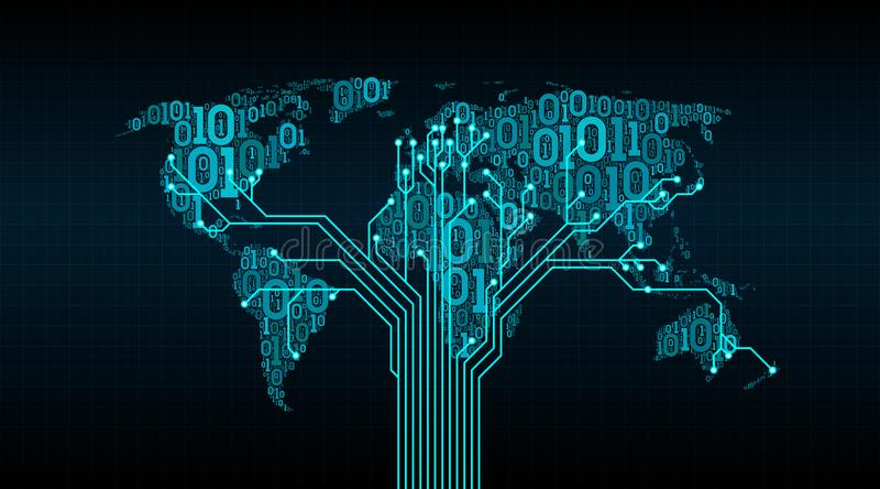 Mapa do mundo abstrato de um código binário digital em um fundo da grade, uma conexão entre cidades sob a forma de um circuito im ilustração royalty free
