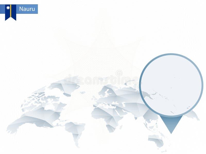 Mapa do mundo arredondado abstrato com o mapa detalhado fixado de Nauru ilustração royalty free