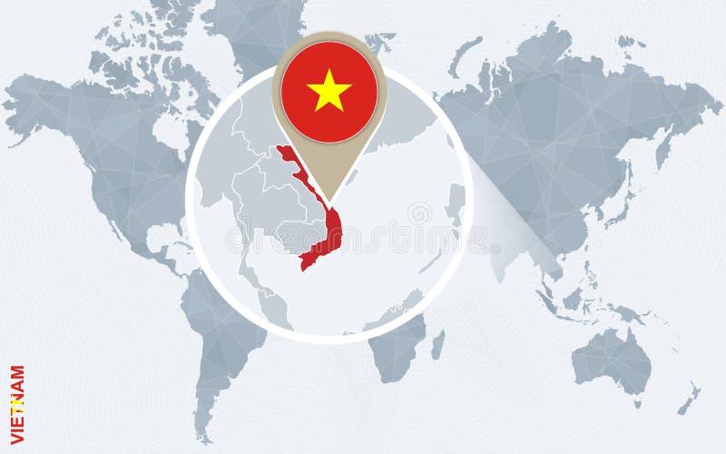 Mapa do mundo azul abstrato com Vietname ampliado ilustração do vetor
