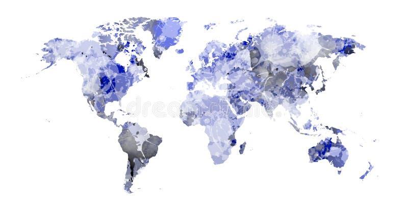 Mapa do mundo azul macio com manchas azuis fotos de stock