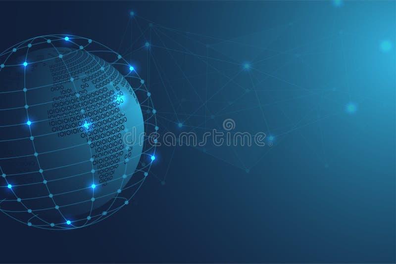 Mapa do mundo binário abstrato com fundo poligonal azul do espaço com pontos e linhas de conexão ilustração royalty free