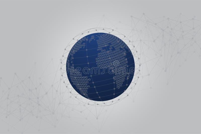 Mapa do mundo binário abstrato com fundo poligonal azul do espaço com pontos e linhas de conexão ilustração stock
