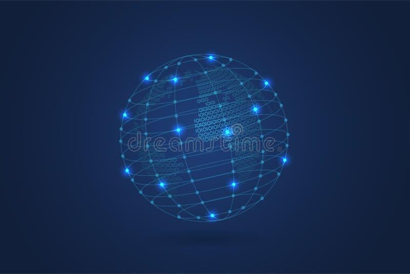 Mapa do mundo binário abstrato com fundo poligonal azul do espaço com pontos e linhas de conexão ilustração do vetor
