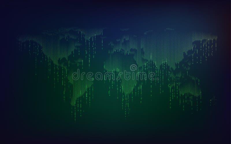 mapa do mundo binário verde ilustração royalty free
