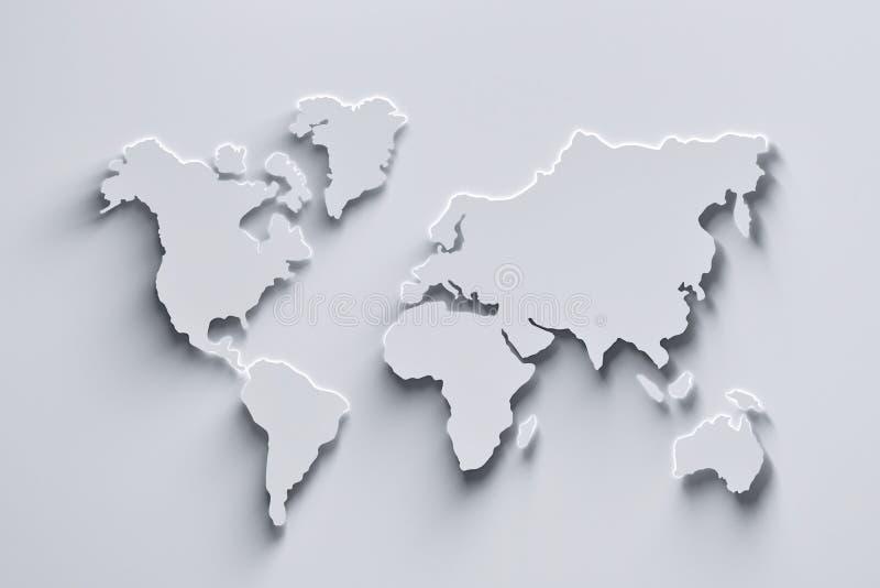 Mapa do mundo branco ilustração stock