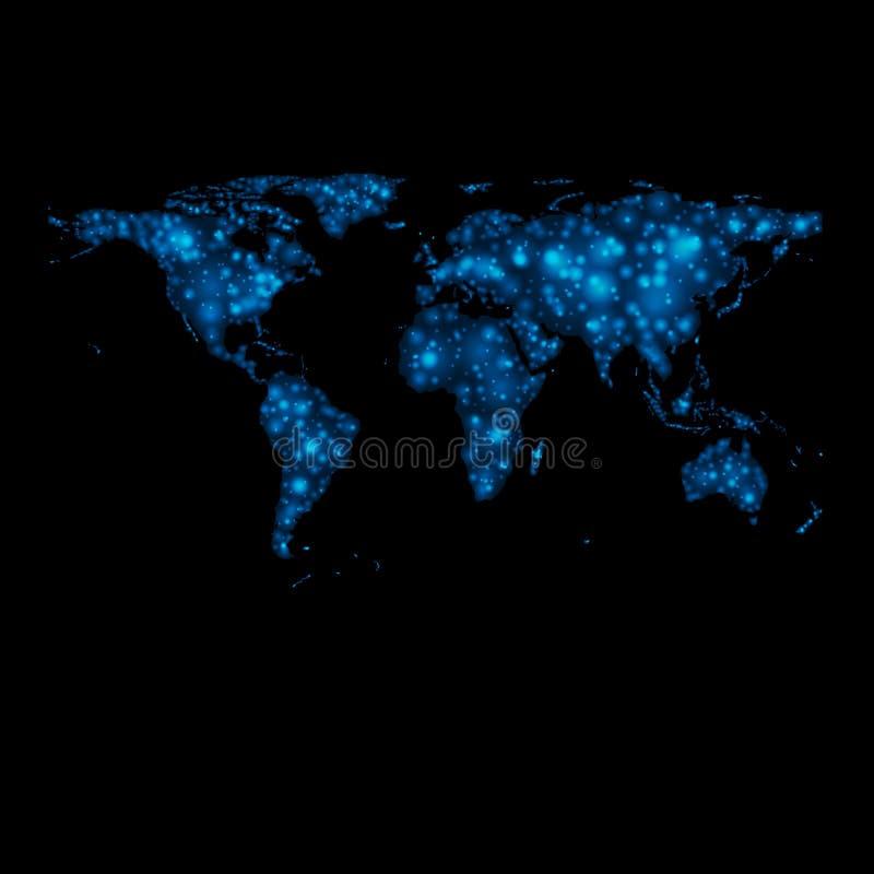 Mapa do mundo brilhante abstrato do vetor das luzes ilustração do vetor